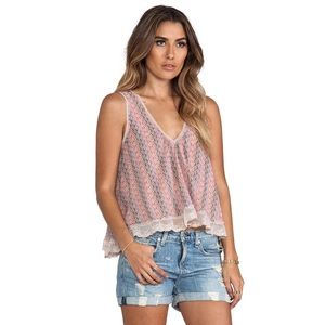 Free People Pink Lace Flutter Fly Tank Top